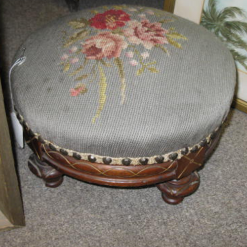 Antique Stool with Needlepoint