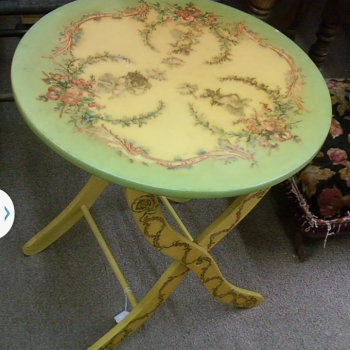 Hand painted and signed folding table