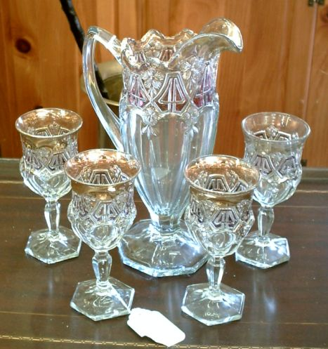 American Glass Company Circa 1915 Pitcher and Glass Set