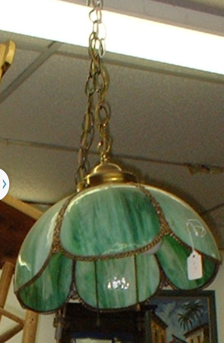 Antique Slag Glass Hanging Lamp Light Fixture