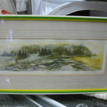 Vintage print titled Inner landscape signed by Joan Purcell