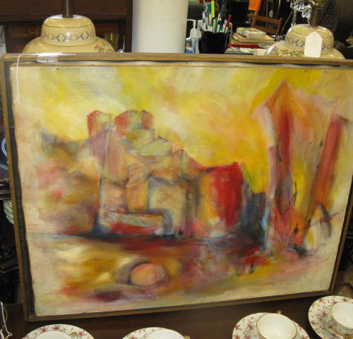 Mid Century Modern Abstract Painting Oil on Canvas