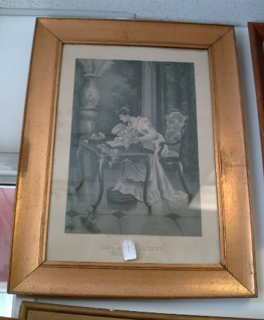 Antique Print Titled Her First Letter