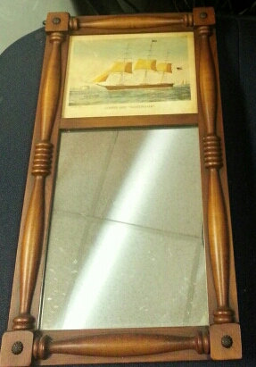 Vintage Mirror with Currier & Ives Clipper Ship Nightingale print