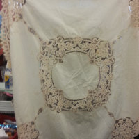 vintage crochet and embroidered tablecloth
