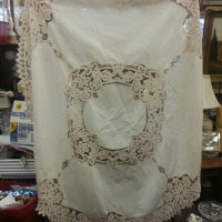 vintage crochet and embroidered tablecloth1