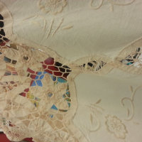 vintage crochet and embroidered tablecloth3
