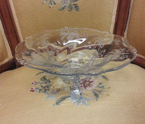 vintage heisey glass bowl orchid pattern