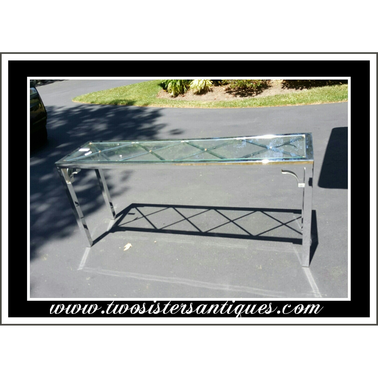 Vintage mid century modern glass and chrome sofa table