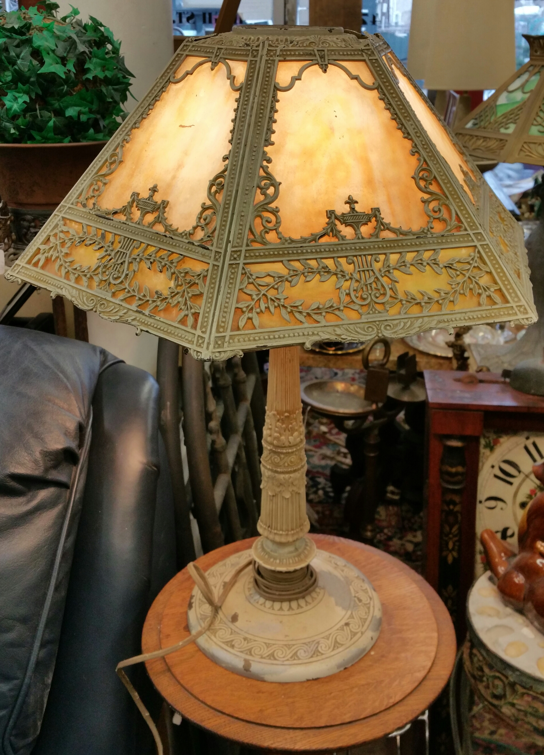 Antique Miller Lamp Company Slag Glass Table Lamp